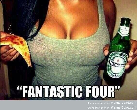 girl, beer and pizza