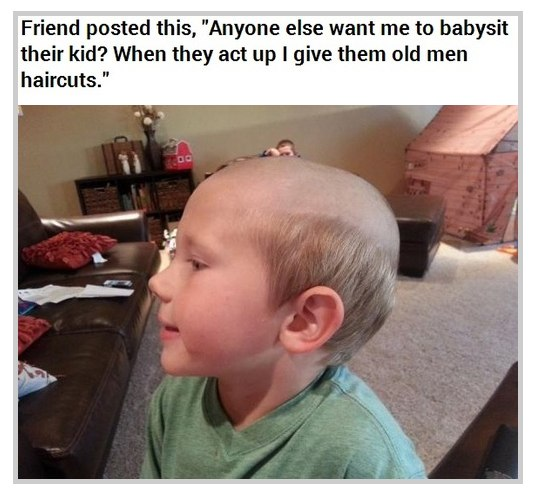 Funny Pictures Babysit Haircut Wanna Joke