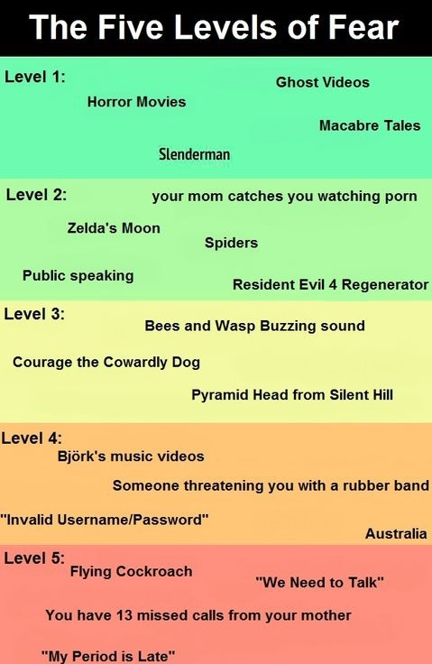 Levels of fear