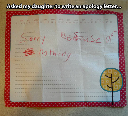 Heres you damn apology letter