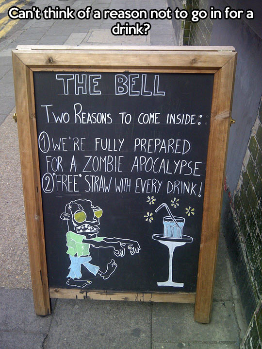 funny-picture-sign-bar-reasons-zombie-apocalypse