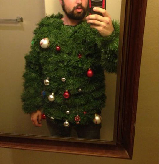 funny-picture-Christmas-tree-disguise-mirror-phone-selfie