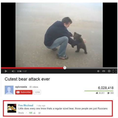 Funny Picture Youtube Comment Russia Bear Wanna Joke
