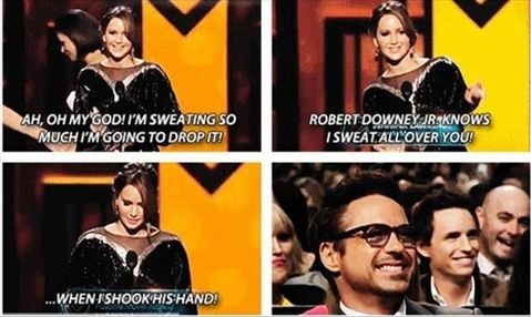 jennifer lawrence robert downey jr and sweat