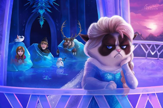 funny-picture-Frozen-grumpy-cat-ice-characters