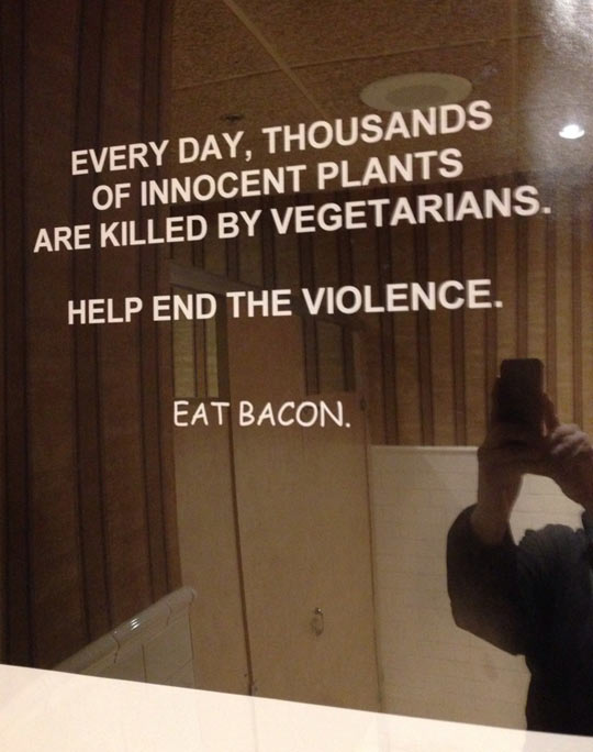 funny-picture-sign-mirror-vegetarians-bacon