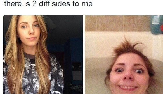 two sides of a girl