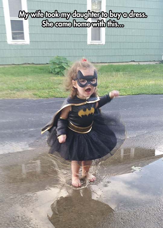 cute-toddler-Batman-dress-girl-puddle
