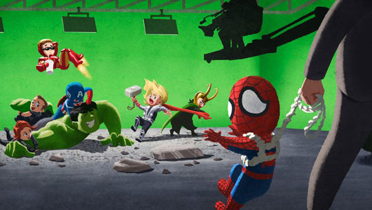 funny-Avenger-kids-playing-Spiderman-grounded