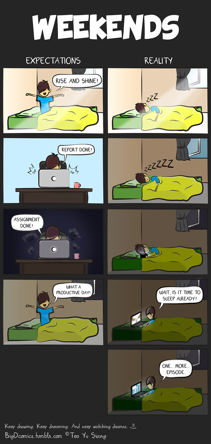funny-weekend-sleep-homework-expectation-vs-reality