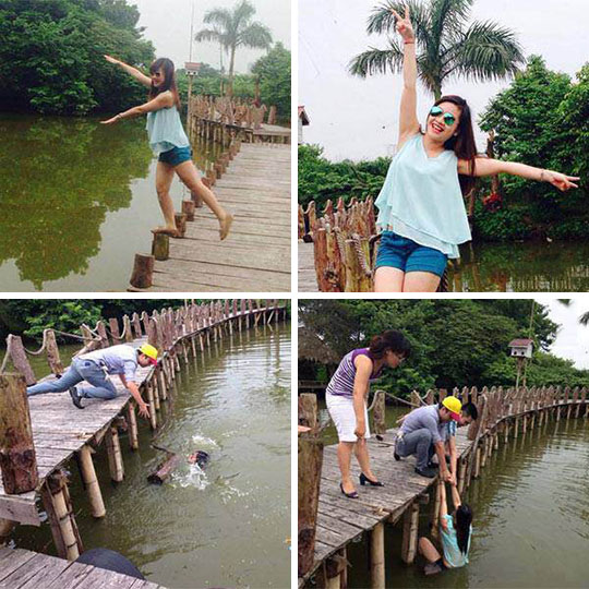 funny-girl-posing-bridge-falling-water