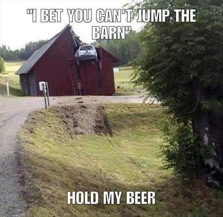 car-fail-jump-barn-beer