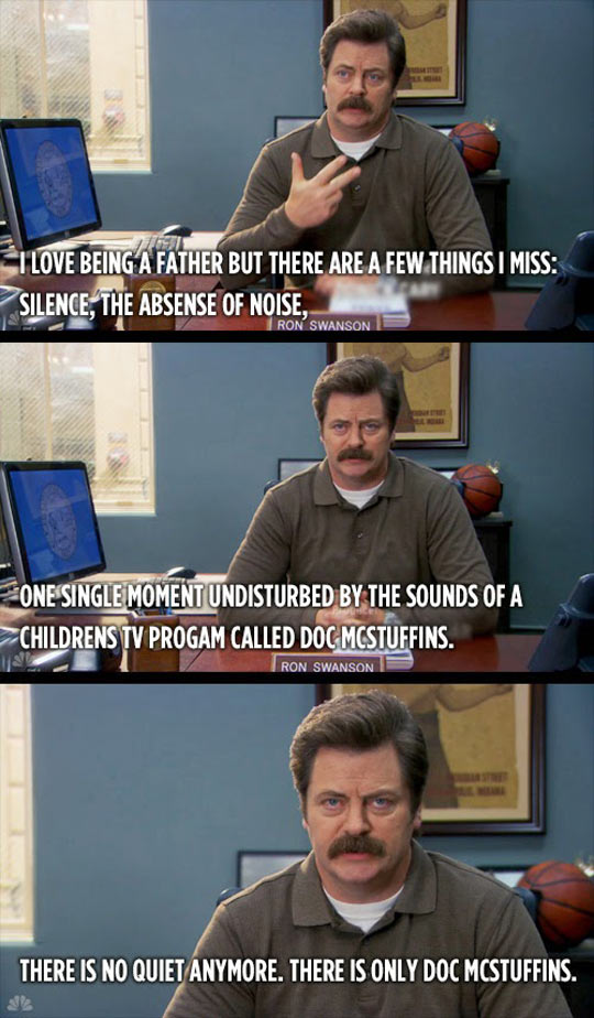 cool-Ron-Swanson-fatherhood-silence