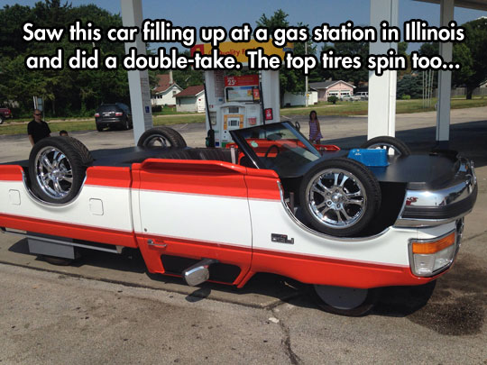 cool-upside-down-truck-tires-gas-station