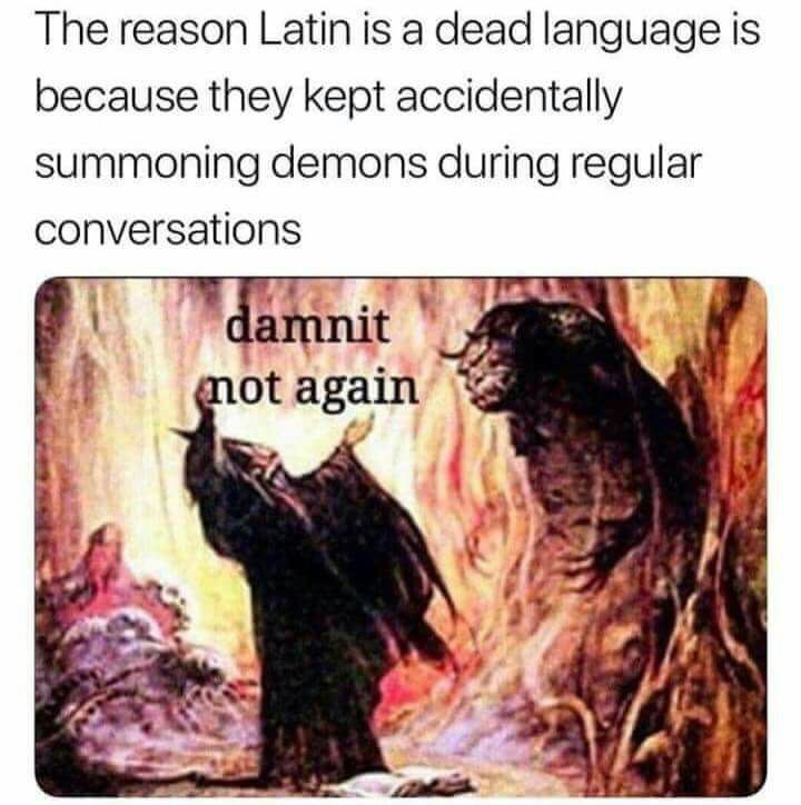 On the lesson of Latin student accidentally summon satan